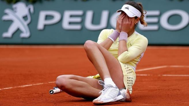 Garbiñe Muguruza, tras ganar Roland Garros.