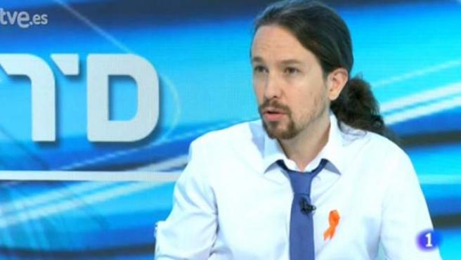 Pablo Iglesias, entrevistado en el Telediario de TVE.