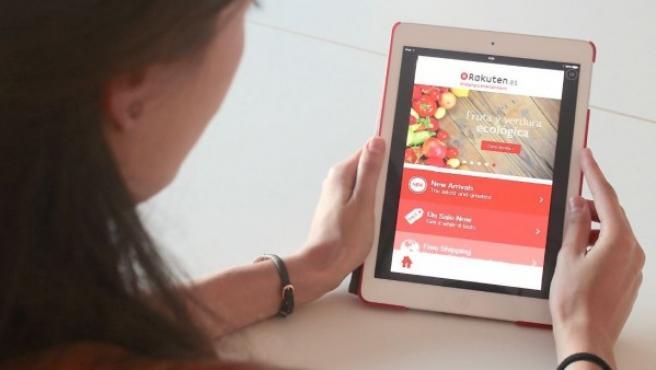 El portal de Rakuten, una plataforma de comercio electrónico.