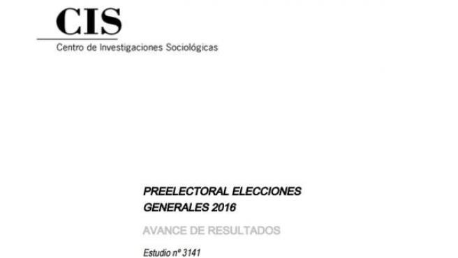 Imagen del informe preelectoral del CIS de cara a las elecciones generales del 26J.