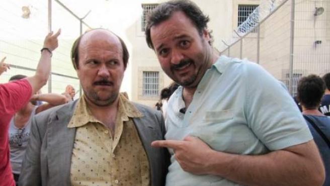 El actor y director Santiago Segura, con Torbe en el rodaje de Torrente 4.
