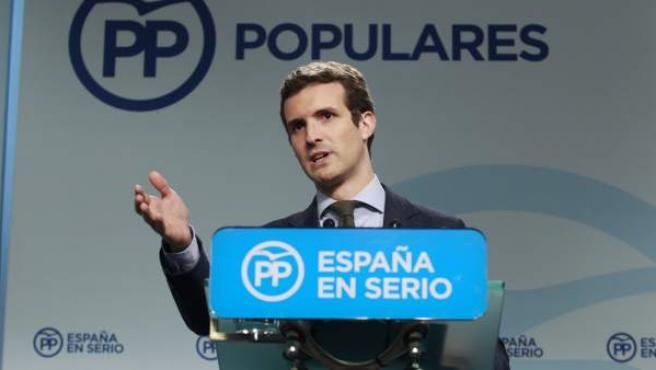 Pablo Casado, en la sede del PP.