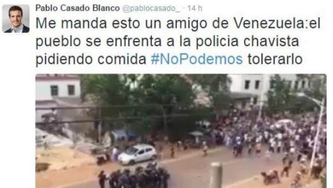 Tuit de Pablo Casado donde atribuye a Venezuela un vídeo de protestas en el Congo. Posteriormente lo borró de Twitter.