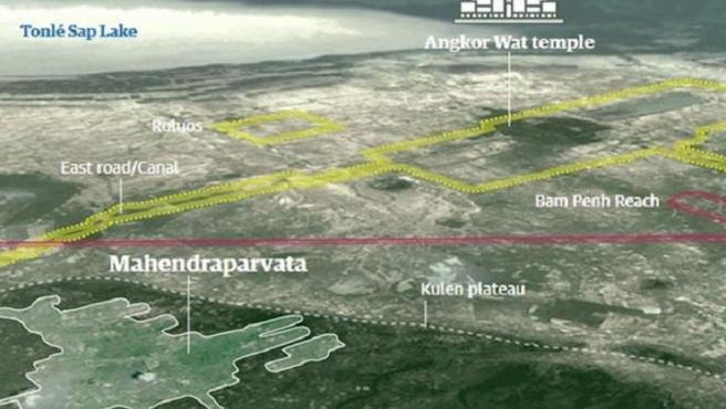 Gráfico que muestra la trama de ciudades medievales del imperio Jemer sepultadas bajo la jungla en Camboya.