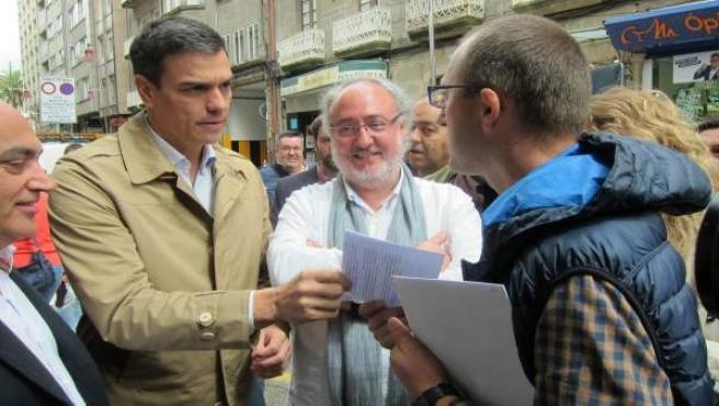 Pedro Sánchez, en las calles de Pontevedra