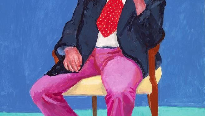 El comediante Barry Humphries en un retrato pintado por David Hockney