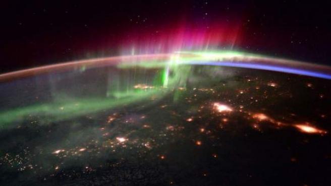 Imagen de una aurora boreal desde la Estación Espacial Internacional.