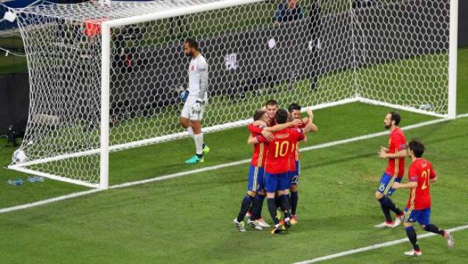Una de las imágenes de la goleada de la selección española ante Turquía en la Eurocopa.