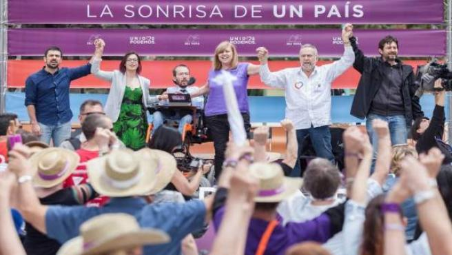 Acto de campaña de Unidos Podemos en Zaragoza.