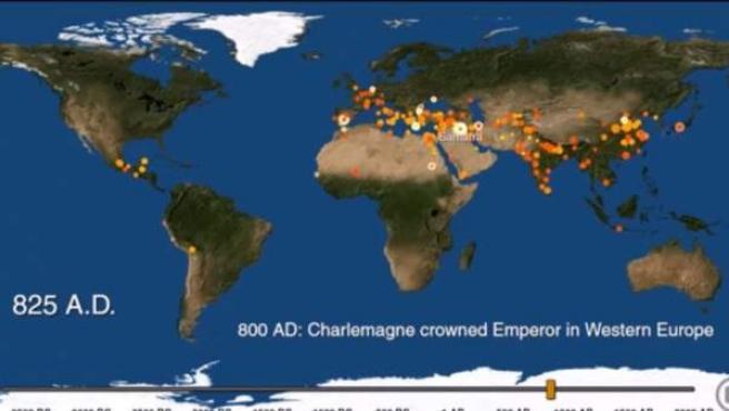 Mapa que recoge la evolución de las ciudades a lo largo de la historia en el mundo.