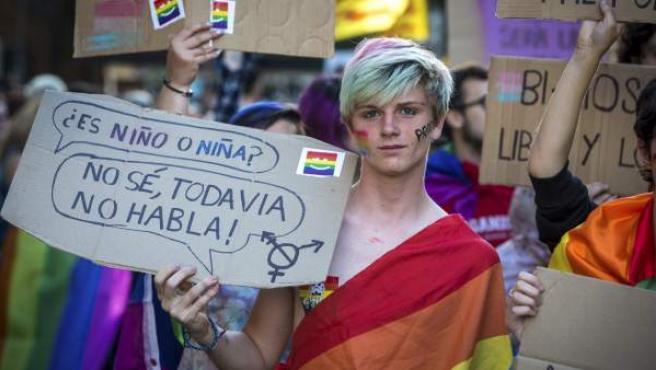 Colectivos de defensa de los derechos de gais, lesbianas y transexuales, partidos políticos y entidades sociales durante la manifestación del Orgullo LGTB en Valencia.
