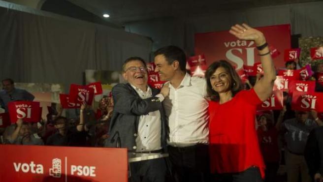 Pedro Sánchez con Ximo Puig en un mitin en Valencia