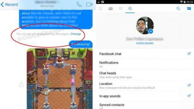 Capturas de Facebook Messenger con la nueva funcionalidad de mensajes que se autodestruyen.