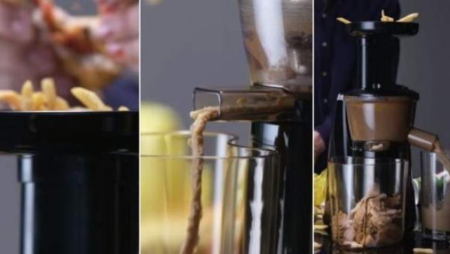 Tres capturas del experimento de crear un zumo o puré a partir de un menú de hambuguesería.