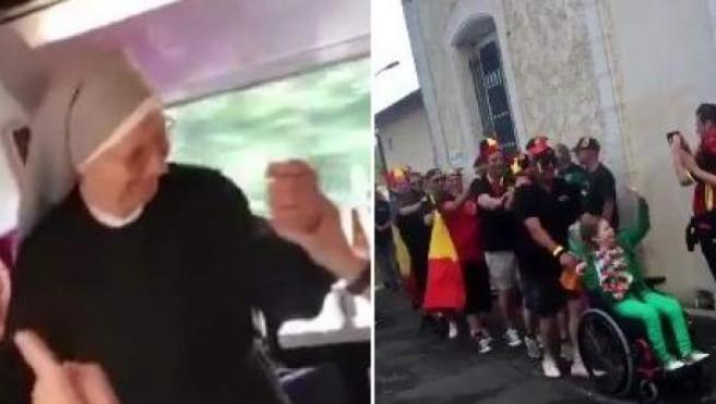 Capturas de vídeos divertidos de fans en la Eurocopa de Francia.