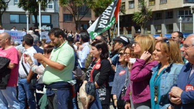 Adriana Lastra (FSA-PSOE) participa en la manifestación del Dia del Refugiado