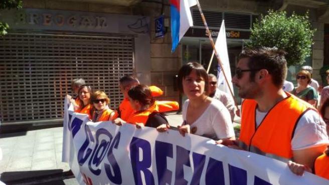 La líder del BNG, Ana Pontón, en la manifestación por los refugiados