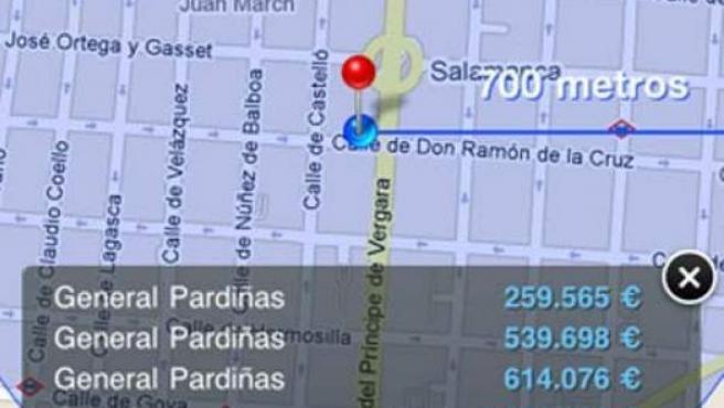 Así muestra el iPhone una tasación sobre el terreno.