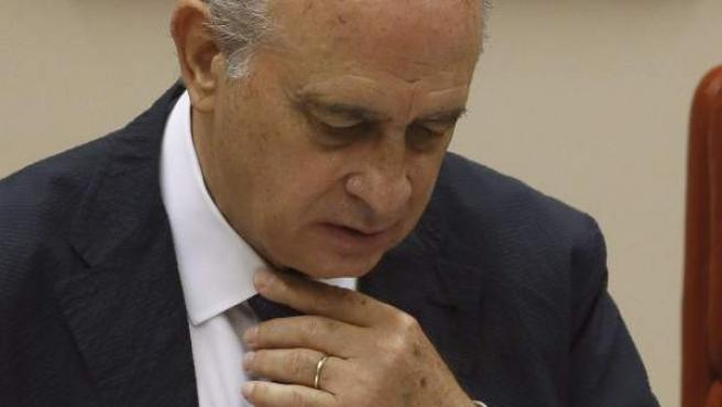 El titular de Interior, Jorge Fernández Díaz, durante su comparecencia en el Congreso para explicar la reunión que mantuvo con el exvicepresidente del Gobierno Rodrigo Rato.