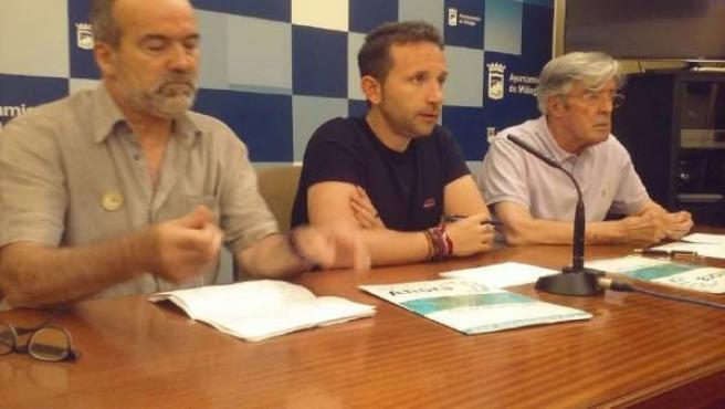 Rueda de prensa de Málaga Ahora Espinosa, Emilio Moreno y Fernando Méndez