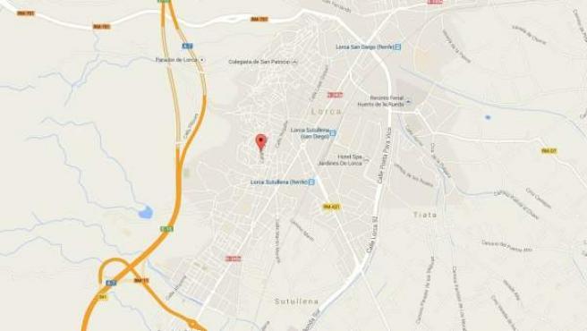 Mapa de Lorca (Murcia) con la localización del lugar en el que un padre ha apuñalado al supuesto violador de su hija.