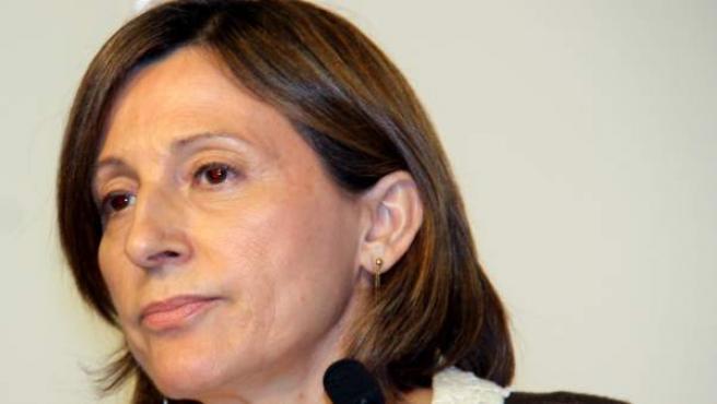 La presidenta del Parlament, Carme Forcadell, durante la rueda de prensa posterior a la reunión de la Mesa del Parlament.