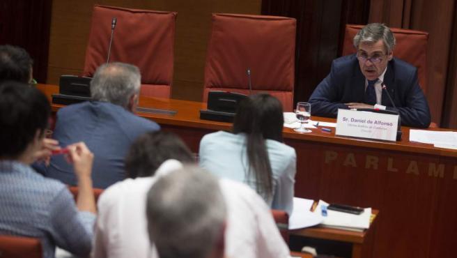 El director de la Oficina Antifraude de Cataluña, Daniel de Alfonso, durante su comparecencia ante el Parlament catalán.