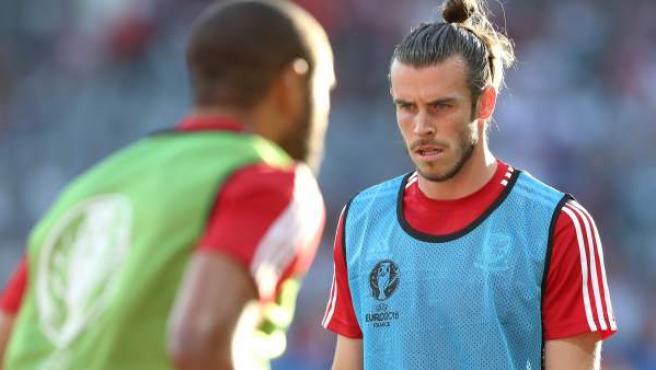 El jugador galés Gareth Bale, entrenando con su selección en la Eurocopa de Francia.
