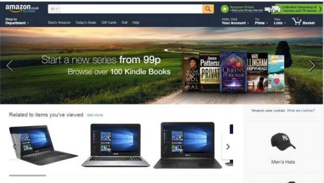 Página principal de Amazon UK.