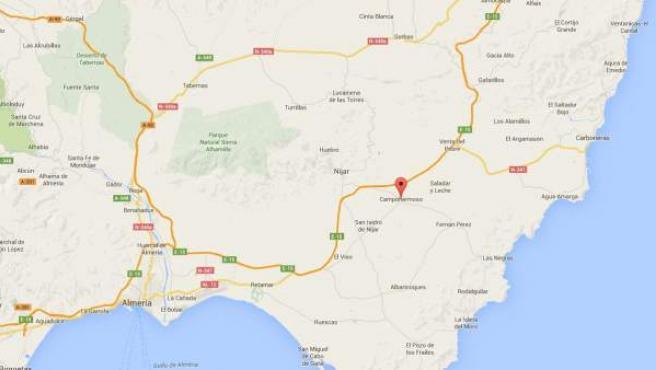 Localización en el mapa de Campohermoso en Níjar, Almería.