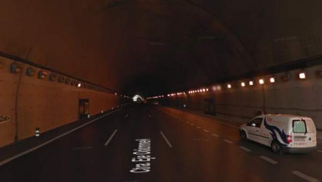 Vista del interior del tunel de O'Donnell en Madrid.