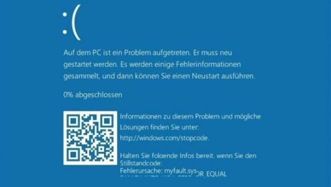Captura de la pantalla azul de Microsoft con un código QR para localizar errores.