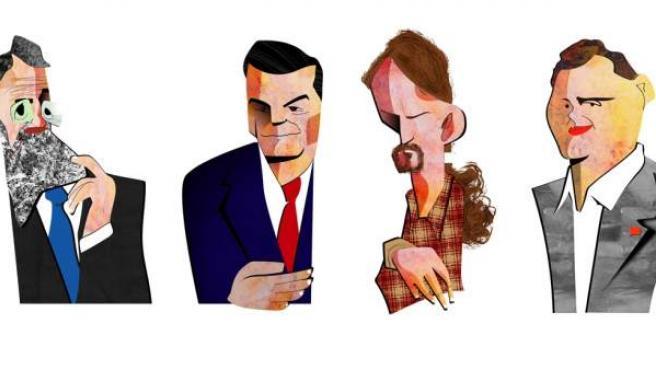 Caricaturas de Mariano Rajoy, Pedro Sánchez, Pablo Iglesias y Albert Rivera.