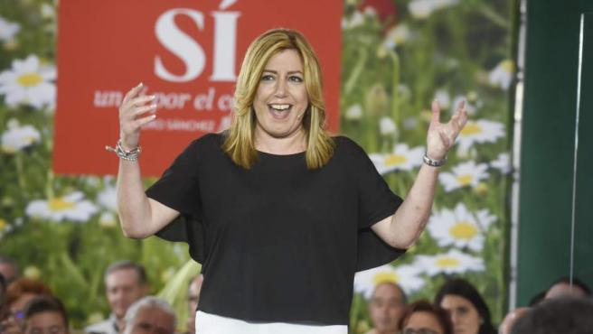 Susana Díaz en un acto de campaña del PSOE.