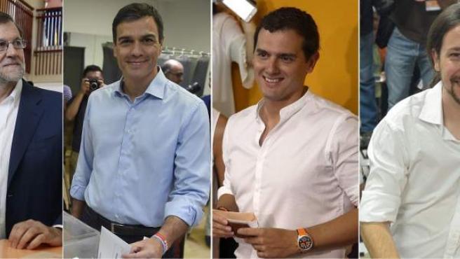 Rajoy, Sánchez, Rivera e Iglesias, votando.