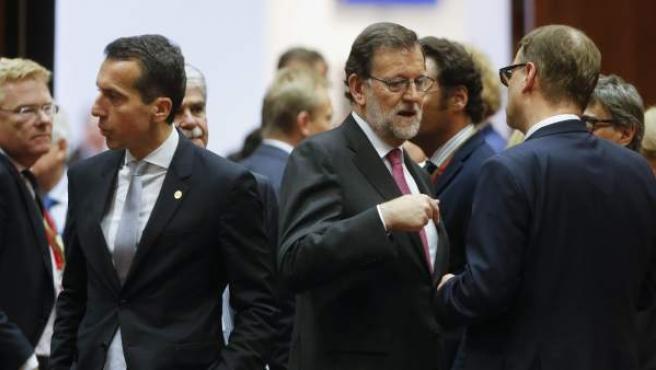 El presidente del Gobierno, Mariano Rajoy, durante la reunión de jefes de Estado y de Gobierno de la UE en Bruselas.