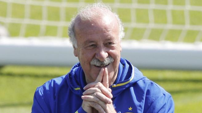 Vicente del Bosque, en un entrenamiento de la selección española.