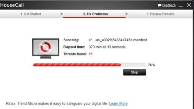Captura de pantalla de escaneo con Trend Micro HouseCall.