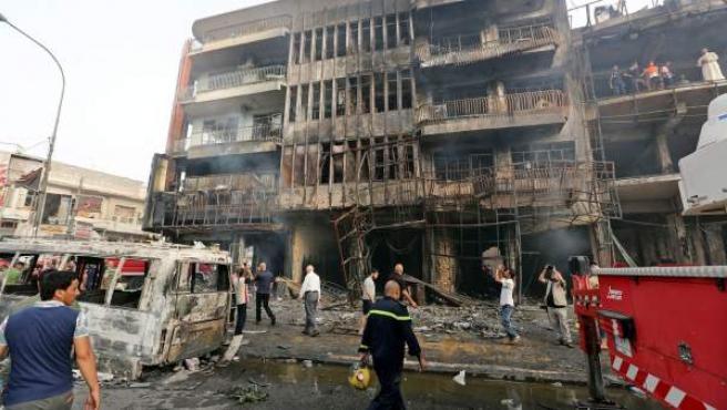 Lugar en el que Estado Islámico ha explosionado un camión bomba con el que ha provocado uno de los atentados más sangrientos en la historia de Irak.