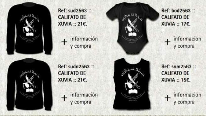Estas son las prendas supuestamente a la venta en http://www.serigrafiaxuvia.com/catalogo/*/*/Califato_de_Xuvia/1. Hay hasta para bebés.