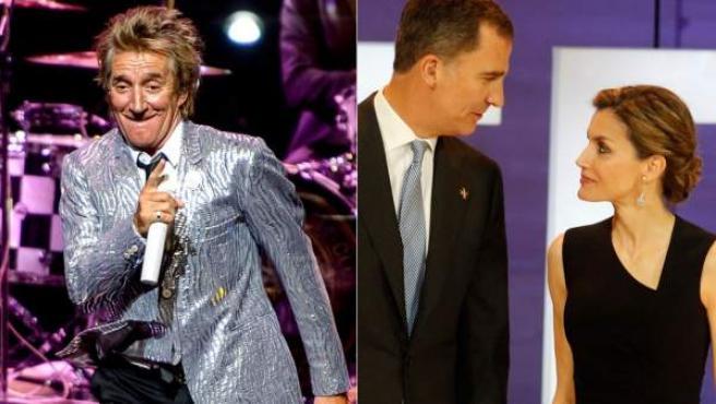 Combo de imágenes de Rod Stewart, durante su concierto en el Teatro Real, y de los monarcas Felipe VI y Letizia.