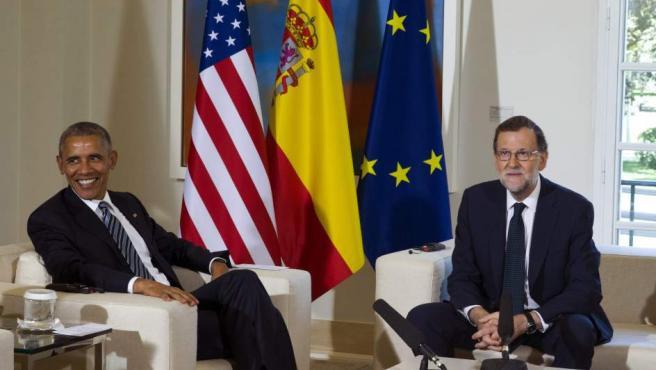Barack Obama, presidente de Estados Unidos, en el despacho de Mariano Rajoy en la Moncloa.