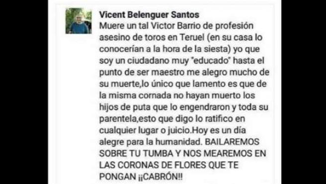 Comentario en la red social Facebook en el que el profesor Vicent Belenguer se burla de la muerte del torero Barrio.