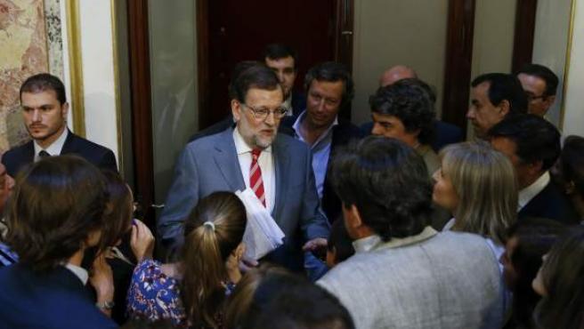 Mariano Rajoy al término la rueda de prensa en el Congreso.