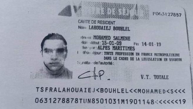 Imagen divulgada del documento de identidad del terrorista de Niza, Mohamed Lahouaiej Bouhlel.
