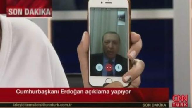 Mensaje del presidente turco Tayyip Erdogan a través de Facetime.