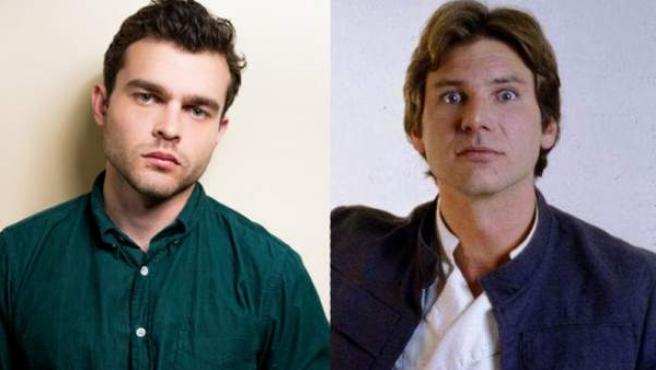 Alden Ehrenreich y Harrison Ford en las primeras películas de Star Wars como Han Solo.