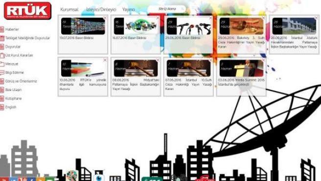 Sitio web del Consejo Supremo de Radio y Televisión de Turquía.