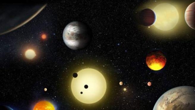 Representación de algunos de los planetas descubiertos por el telescopio Kepler.