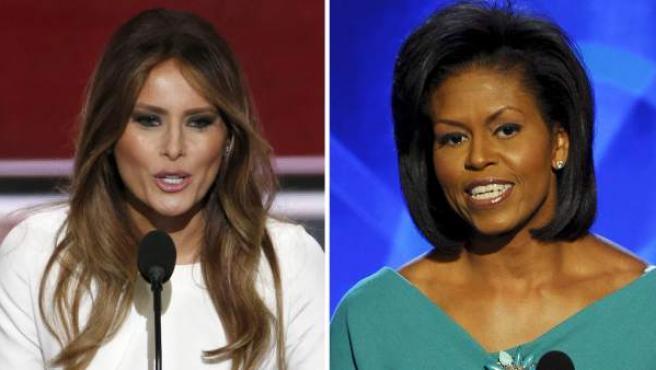 Como fotográfico que muestra a la esposa de Donald Trump, Melania Trump (i), y a la primera dama estadounidense, Michelle Obama, durante sus discursos en en el pleno de la Convención Nacional Republicana en Cleveland (EEUU) el 18 de julio de 2016, y en la Convención Nacional Demócrata de Denver (EEUU), el 25 de agosto de 2008, respectivamente.